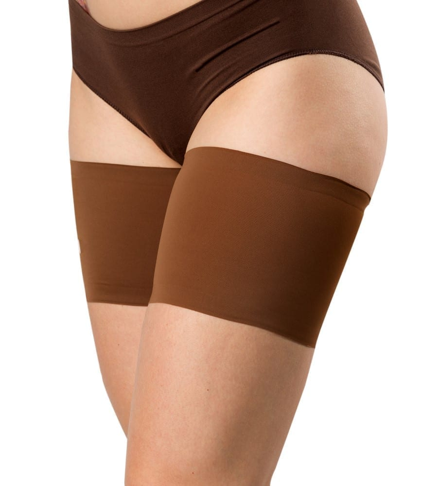The real Unisex soft thigh bands by Bandelettes in chocolate brown.