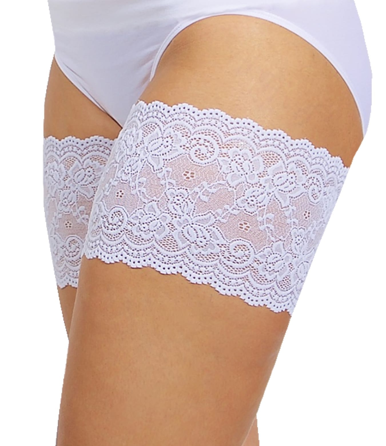 Cute white Bandelettes anti chafing thigh bands, model Onyx