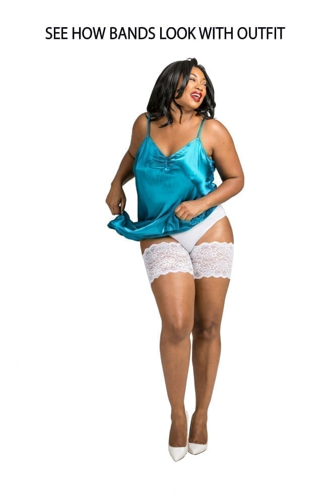 Bandelettes White, model Dolce. Your thighs love wearing Bandelettes! Bye bye Chafing!