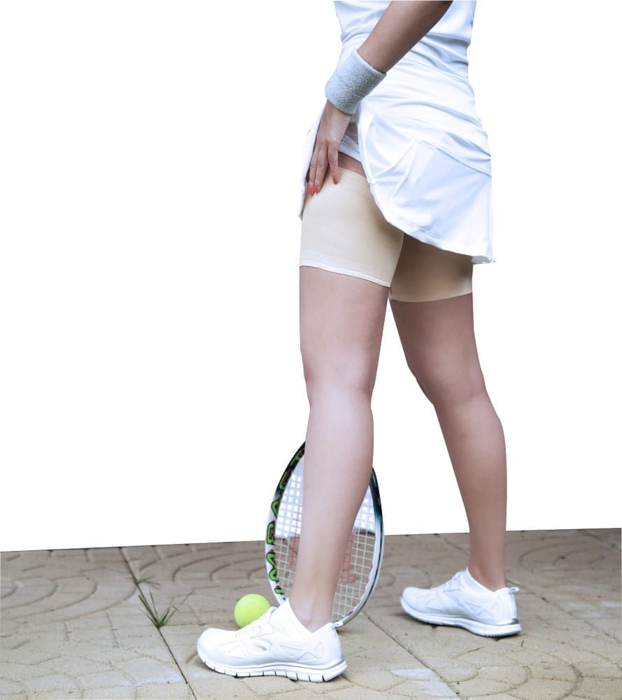 Bandelettes beige unisex match perfectly with a tennis outfit! Goodbye thigh chafing!